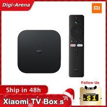 Versão global xiaomi mi tv caixa s 4k hdr android tv streaming media player google assistente remoto inteligente mi tv vara 2k