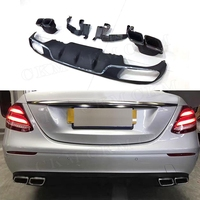 E Class PP Rear Bumper Lip Diffuser with Exhaust Tips 4 Outlet for Mercedes Benz W213 E200 E300 Standard Bumper 2017 2018 2019