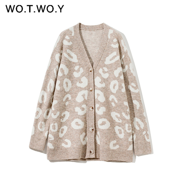 WOTWOY Autumn Winter V-Neck Knitted Cardigans Women Single Breasted Printed Loose Sweaters Female Casual Cardigans Soft Knitwear 1