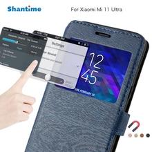 Pu Leer Telefoon Case Voor Xiaomi Mi 11 Ultra Flip Case Voor Xiaomi Mi 11 Ultra View Window Book Case zachte Tpu Silicone Cover