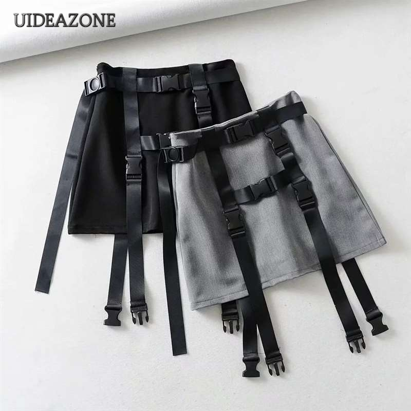 UIDEAZONE Gothic A-Line Women Mini Skirts Patchwork High Waist Hip Hop Girls Wrap Skirt Above Knee With Sashes Goth Streetwear