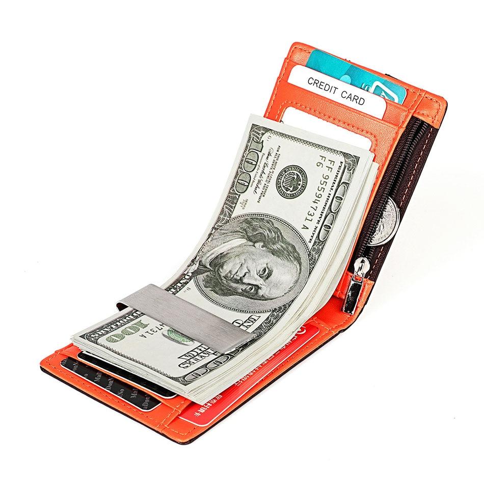 genuíno zíper carteira dinheiro saco clipe de