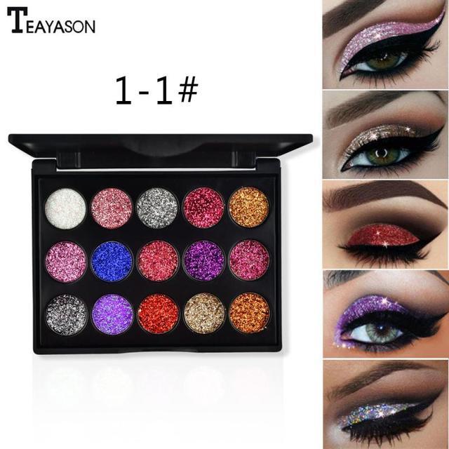 15 Color Diamond Sequins Lasting Eyeshadow Tray Glitter Powder Waterproof Eye Shadow Palette Stage Sequins Eye Makeup TSLM2 4