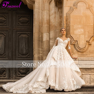 Image 3 - Fsuzwel מדהים אפליקציות הכלה משפט רכבת תחרה אונליין שמלת כלה 2020 מקסים סקופ צוואר חצי שרוול נסיכת כלה שמלה