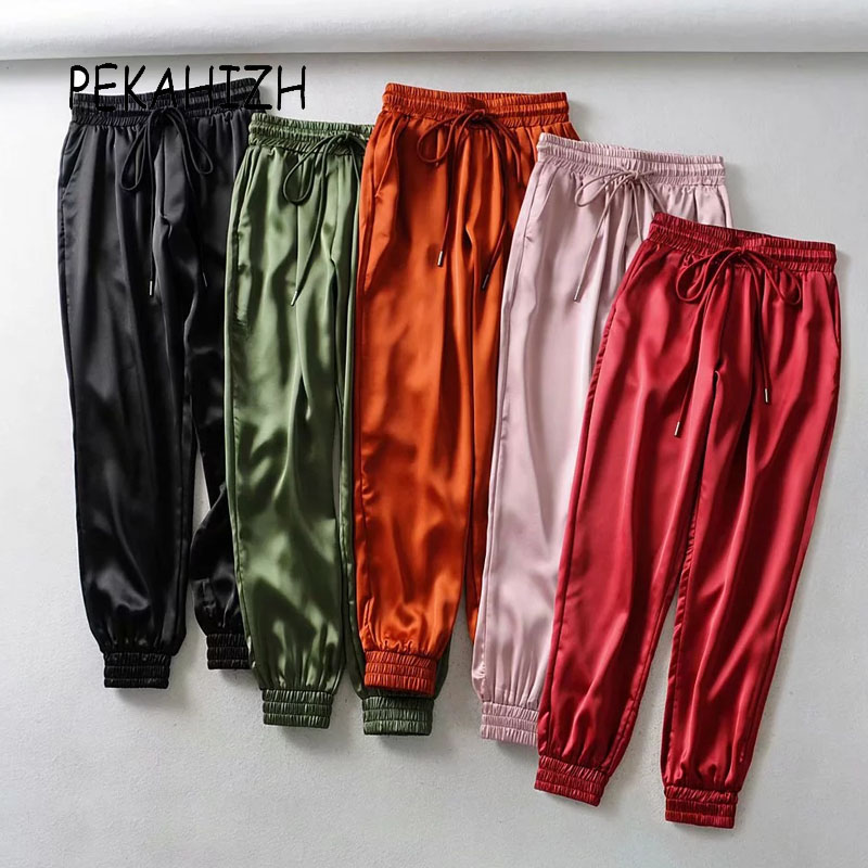 Vintage Black Orange Satin Pants Women Harem Pants Women Streetwear Female Joggers Long Trousers Sweatpants