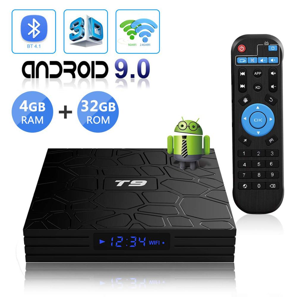 TV Box Android 9.0 T9 RK3318 Smart Set top Boxes 2.4G&5.8Ghz Dual Band Wifi Meida Player 4K Ultra HD TVBOX Home 3D Movie Theater