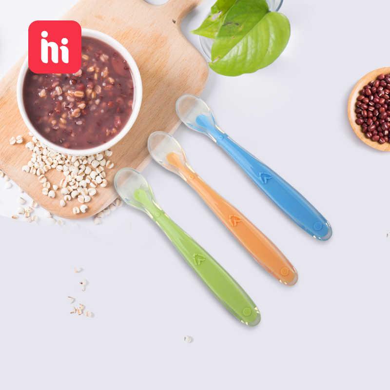 Colher de alimentação para crianças, colher de alimentação macia de silicone com sensor de temperatura, de cor doce, colher para alimentação de bebês e crianças