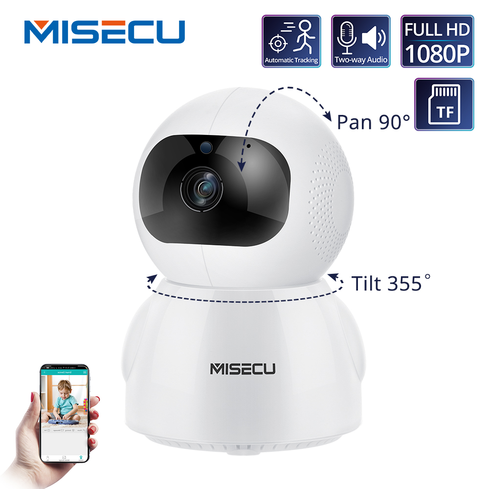 MISECU 1080P Home Security IP Camera Two Way Audio Wireless Mini Pet Camera Auto Tracking Night Vision CCTV WiFi Baby Monitor