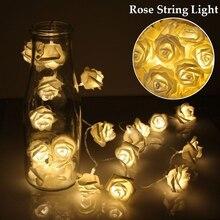 20 светодиодов роза цветок фея струна фонари батарея питание романтика цветочные лампа свадьба валентинки% 27 с день событие вечеринка гирлянда декор