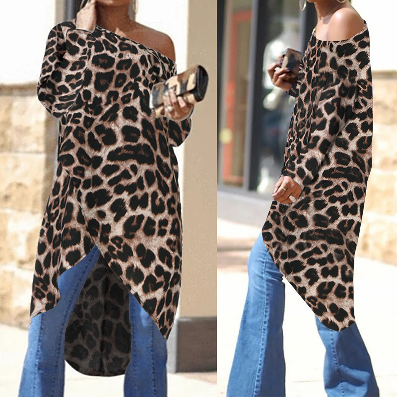 Women Asymmetrical Tunic Tops Sexy Leopard Print Blouses 2019 Celmia Ladies Off Shoulder Casual Long Shirts Plus Size Blusas 7