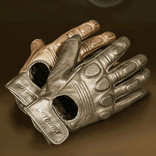 Guantes de Motocross Retro para hombre, guantes de cuero transpirable para motocicleta, carreras, invierno y verano
