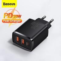 Baseus-cargador USB tipo C de 30W, dispositivo de carga rápida para iPhone 13, 12 Pro Max, Samsung, Xiaomi Mi QC 3,0 PD USBC
