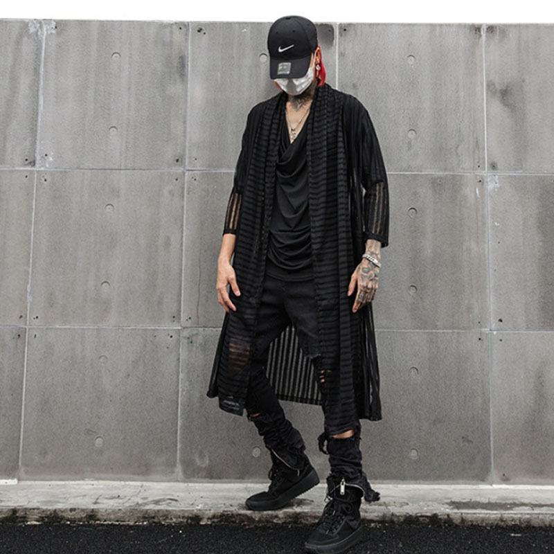 Spring Summer Black Ultrathin Men Long Shirt Side Split Lengthen Blouse Man Vintage Casual Street Punk Hip Hop Shirts Cardigan