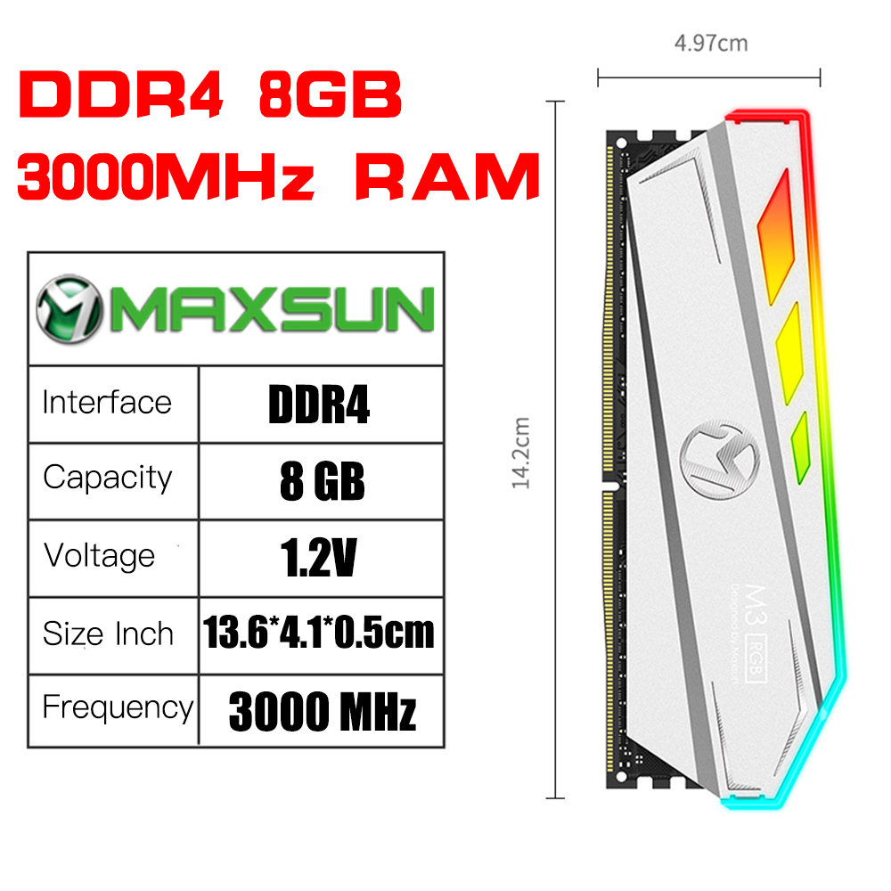 Купить с кэшбэком MAXSUN RGB Lighting RAM ddr4 8GB 3000MHz Interface 288Pin Memory Voltage 1.2V Lifetime warranty memoria RAM ddr4 Original Rams