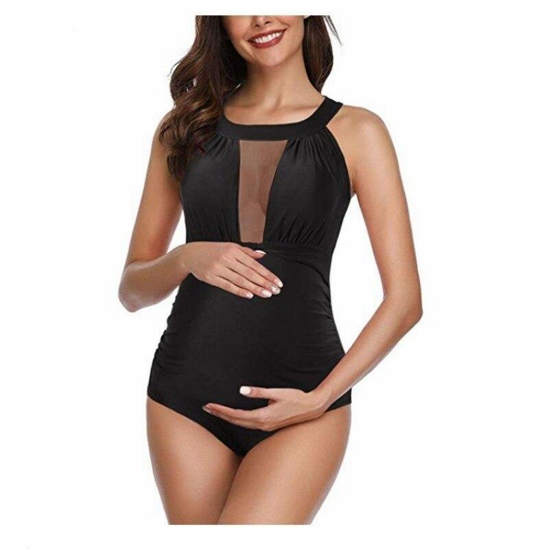 S ~ 3xl maiô de maternidade, roupas de verão para mulheres grávidas, preto, plus size, gravidez roupa de banho
