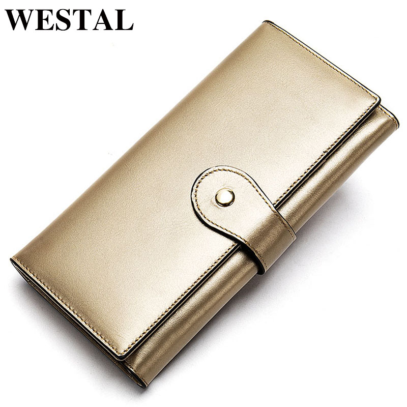 WESTAL Ladies Wallets Genuine Leather Portfel Women's Leather Wallet For Cards Womens Wallets And Purses Female Coin Purse 8303