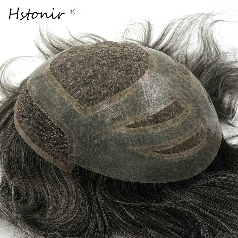 Hstonir Indian Remy Hairpiece Men Hair Replacement Swiss Lace In Front With Mono And PU Toupee For Men H010