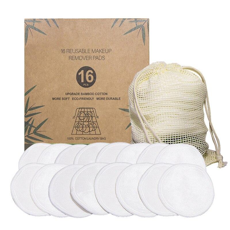 16 pçs reutilizáveis almofadas de algodão de bambu lavável maquiagem removedor almofada rosto macio limpador da pele limpeza facial beleza esponja ferramenta