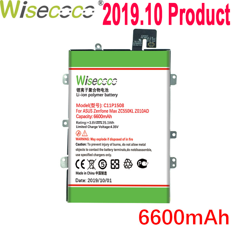 WISECOCO NEW 6600mAh c11p1508 <font><b>Battery</b></font> For <font><b>ASUS</b></font> Zonfone Max ZC550KL Z010AD <font><b>Z010D</b></font> Z010DA Mobile Phone With Frame image