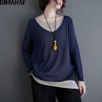 Женская футболка DIMANAF, Повседневная Свободная Винтажная футболка с длинным рукавом, трикотажная эластичная одежда, большие размеры, весна-л...