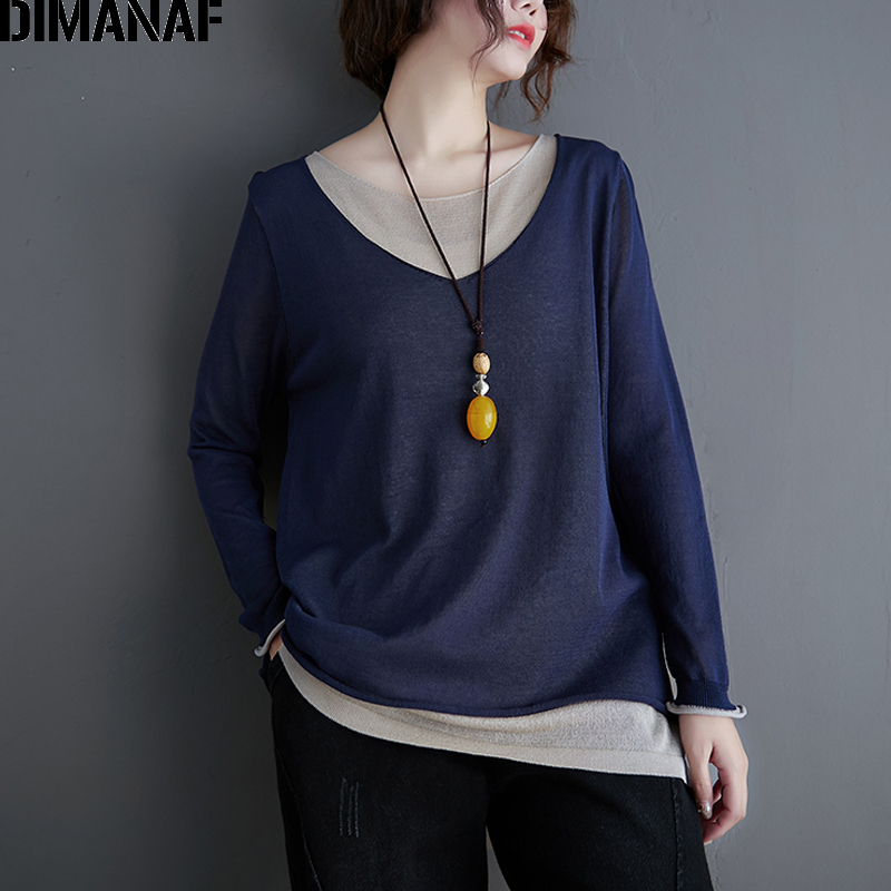DIMANAF Plus Size Women T-Shirt Spring Summer Long Sleeve Casual Loose Vintage Lady Tops Tees Shirts Knitted Elasticity Clothing