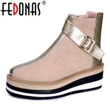 FEDONAS 2020 ฤดูใบไม้ร่วงฤดูหนาว Warm รองเท้าไนท์คลับรองเท้าผู้หญิง Cow สิทธิบัตรหนังสตรีเข่าสูงรองเท้าบูทซิปรองเท้าส้นสูง