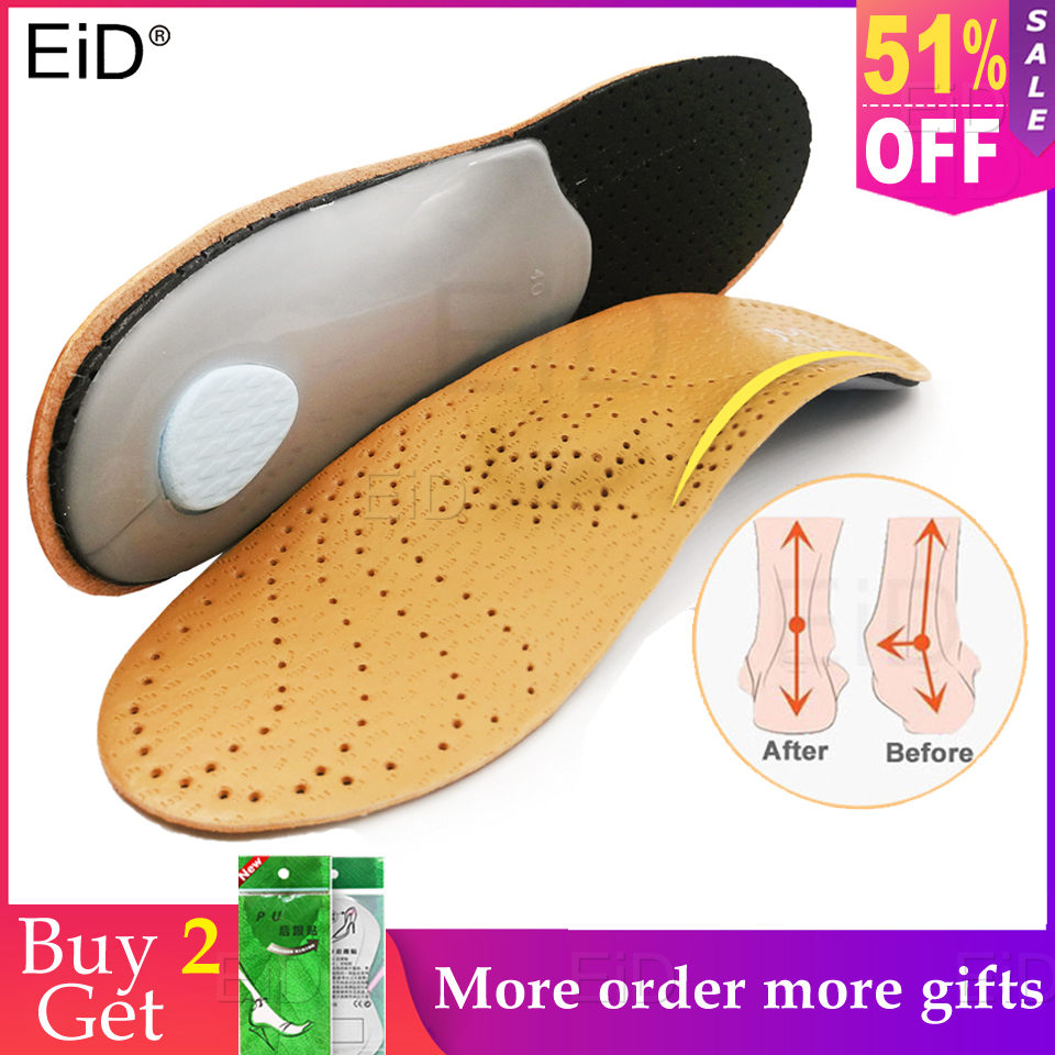 Unisex Premium Leather Orthotic insole for Flat foot Shoe Insoles High Arch Support orthopedic Pad for Correction OX Leg Health image