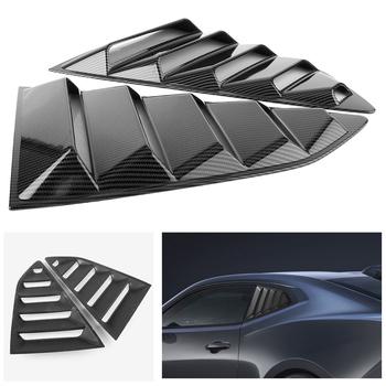 2 sztuk ozdoby na samochód z włókna węglowego samochodów tylna boczna okno żaluzji boczny wylot nawiewu pokrywa zewnętrzna listwa wykończeniowa dla Chevy Camaro 2016 2017 2018 tanie i dobre opinie GZYF CN (pochodzenie) For Chevy Camaro Iso9000 Stylowe listwy 600g Auto Car Side Window Louver Side Vent Cover Replacement