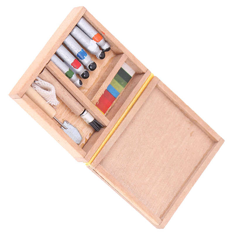 1:12 Dollhouse Miniature Artist Paint Pen Wood Box Model Toys DollsAccessoriP/_ch
