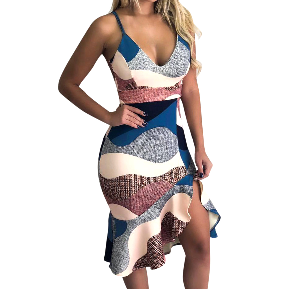 Sexy Ruffled Wrap Hip Slim Waist Fashion Holiday Women Dress Daily Sling Straps Printed V Neck Gift Party Irregular Hem