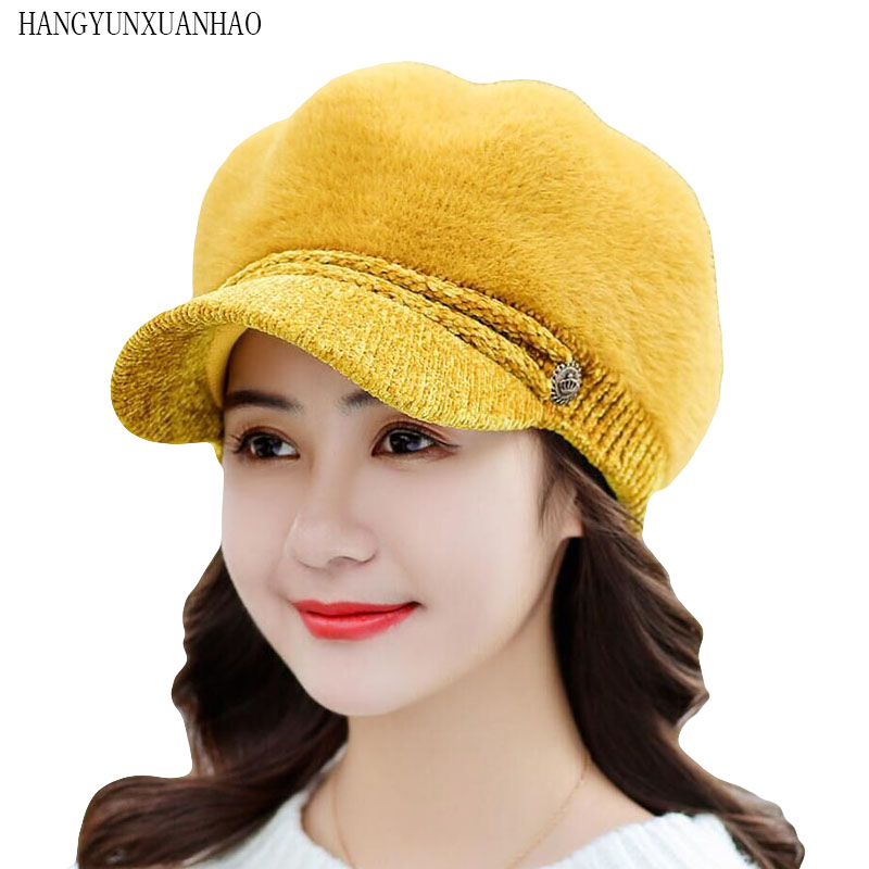 Fashion Cute Fluffy Women Beret Hat Winter Warm Knit Cotton Cap with Visor Ladies Rabbit Fur Super Wool