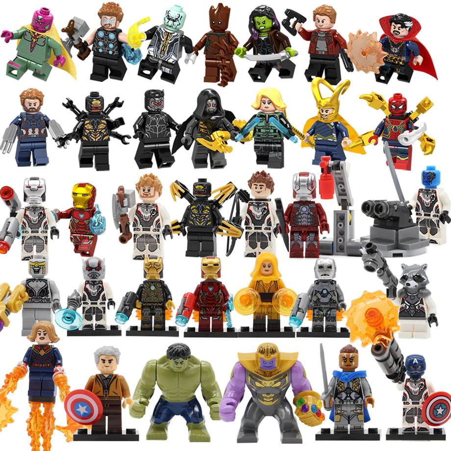 34pcs Super Heroes Figure Set Avengers 4 Endgame DC Spiderman Justice Captain Hulk Building Blocks Batman Toy Gift Legoing