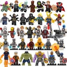 34pcs Super Heroes Figure Set Avengers 4 Endgame DC Spiderman Justice Captain Hulk Building Blocks Batman Toy Gift Legoing