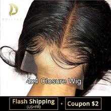 4x4 fechamento peruca reta suíço frente do laço perucas de cabelo humano para preto feminino brasileiro glueless curto afro bob pré arrancado remy