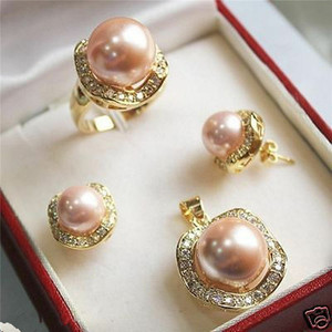 Image 3 - FYS004 Multi color Choices White green  AAAA CZ White  South Sea Shell Pearl Ring Pendant Earring Jewelry Set