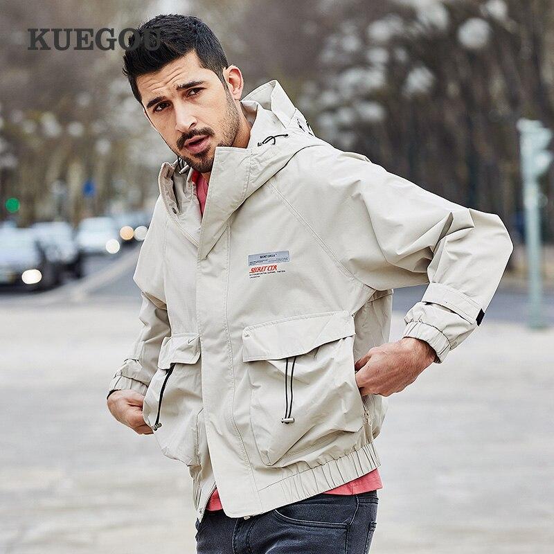 KUEGOU Polyester Men's jacket spring autumn South Korean style fashion printing hooded jacket man's coat top KW-9054