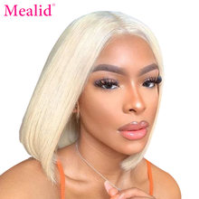Perruque Bob Lace Frontal wig 613 Deep Part naturelle-Mealid | Cheveux courts, blond ombré 150%, 13x6, pre-plucked, HD(China)