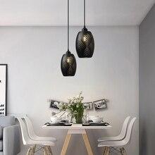 OYGROUP E27 lámpara colgante de Metal hueca, lámpara colgante del techo de interior Vintage rústico, accesorio Blanco/Negro Sin bombilla