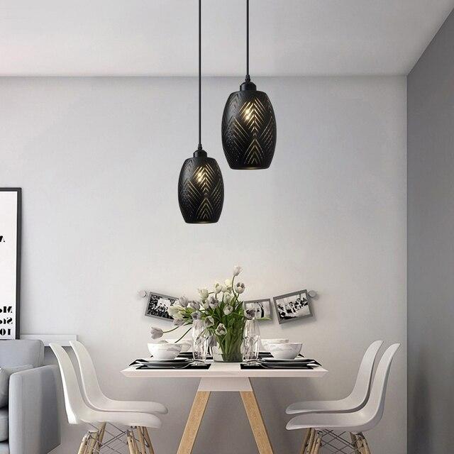 OYGROUP E27 תליון מנורת חלול החוצה מתכת אהיל כפרי בציר מקורה תקרת תליית גוף תאורה לבן/שחור לא הנורה