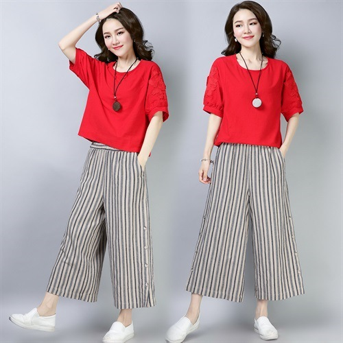 Cotton Linen Loose Pants WOMEN'S Suit 2019 Summer New Style Slimming Culottes Casual Fashion Fashion Flax Stripes Two-Piece Set
