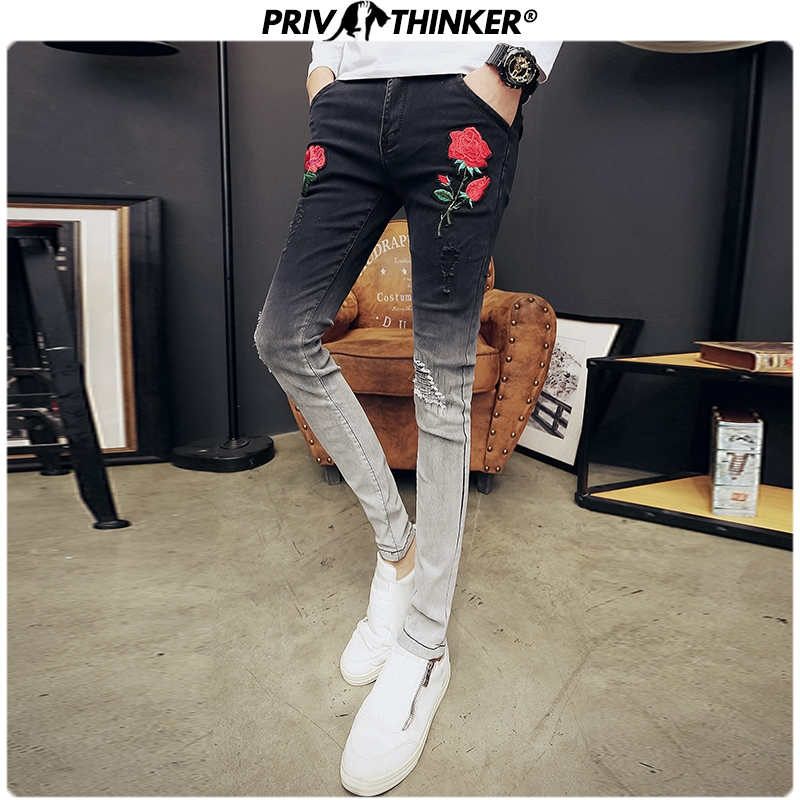 Privathinker Embroidery Slim Men's Jeans 2020 Spring Fashion Denim Pants Man Casual Collage Vintage Oversize Denim Male Pants