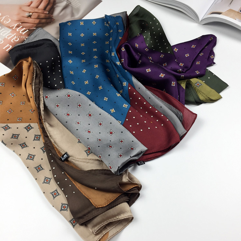 Elegant Silk Satin Hair Scarf For Women Fashion Kerchief Print Bandana Head Scarfs 70*70cm Small Shawls Neck Scarves For Ladies