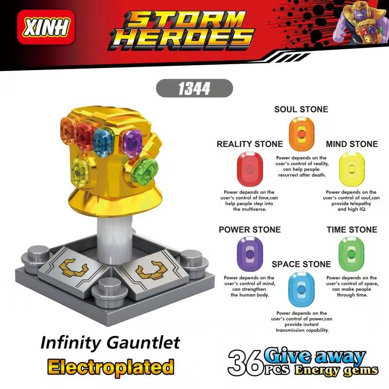 Single Sale LegoINGlys Building Blocks Super Heroes Avengers Infinity Gauntlet 36Pcs Power Stones Toys Children Gifts XH1344