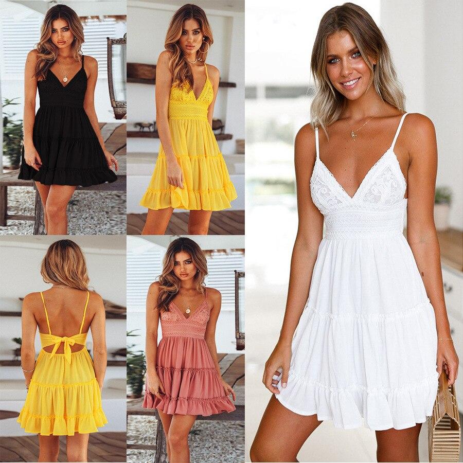 Women Lace V Neck Print Playsuit Beach Dress Stiching Strap Backless Cross A Line Party Dresses Summer Women Clothes Vestido