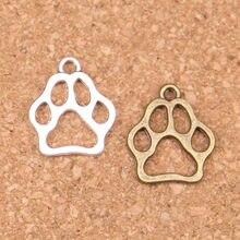 24pcs Encantos urso pata do cão 19x17mm Antique Pingentes, Vintage Jóias De Prata Tibetano, DIY para colar pulseira