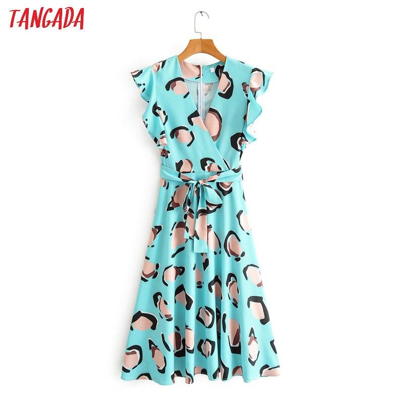 Tangada Women Floral Print Chiffon Dress V Neck Short Sleeve 2020 Summer Females Sundress With Slash 2F70