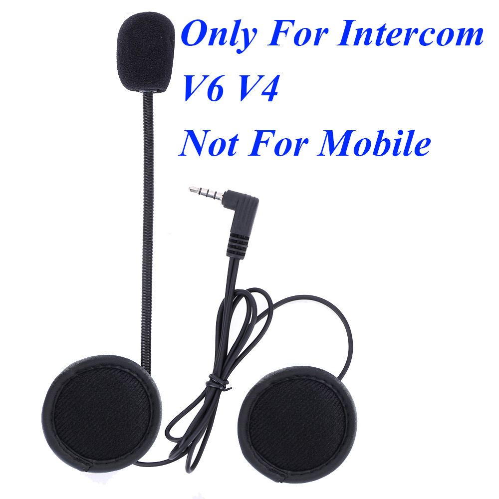 Intercom-Accessories Earphone Stereo-Suit Soft-Mic Hard Motorcycle V4 V6 Bluetooth  title=