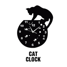 New Clock Watch Modern Design Wall Clocks Europe Horloge 3D Diy Acrylic Mirror Stickers Cat and Fish Living Room Quartz Needle