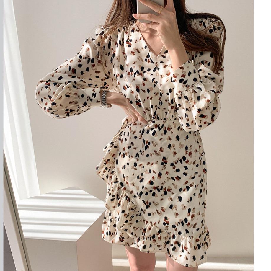 Hf3624d468b8f4984b47a133abf80acbbR - Autumn V-neck Long Sleeves Floral Print Flounced Mini Dress