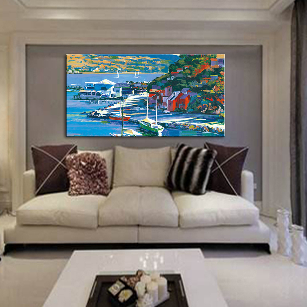 Mintura океанское здание Пейзаж сцены картины ручной работы морской пейзаж картина маслом на холсте большая настенная художественная картина украшение дома